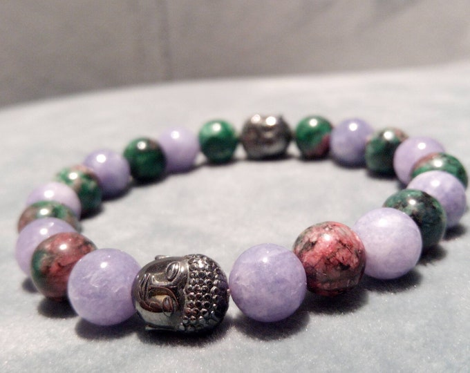 Buddha bracelet in zoizite and Jade Angelite