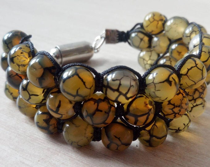 Sublime bracelet tri-band agate Green Dragon vein