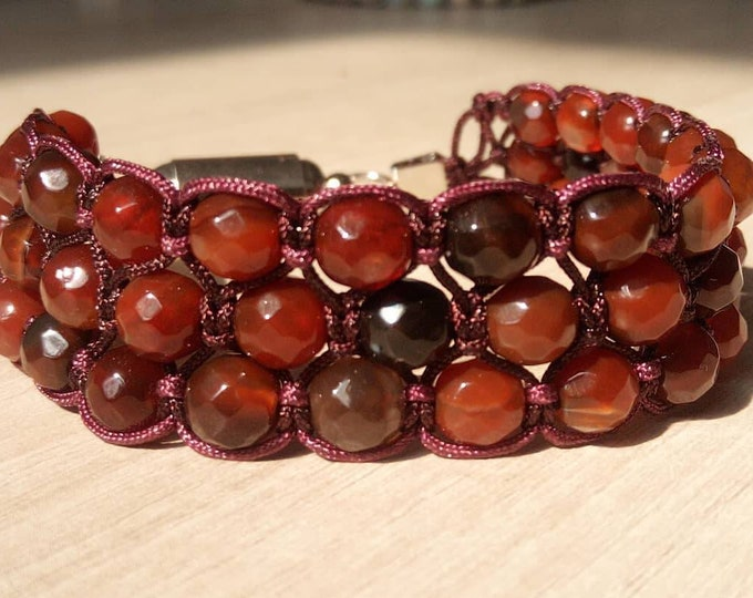 Sublime Red Onyx faceted Tri-band Bracelet