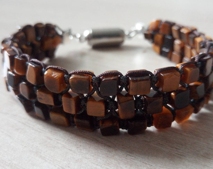 Tri-band cuff in tiger's eye