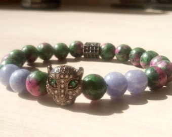 Sublime Bagheera bracelet in zoizite and jade Angelite