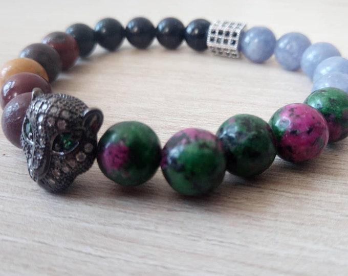 Beautiful bracelet Bagheera zoizite + Mookaite + BlueSand + angelic