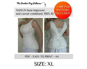 48c64fba23ab XL Printable Edwardian Corset Pattern, Sahlin corset pattern, 1900s S-bend  corset pattern