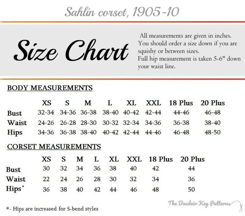 1900s S-bend corset pattern Sahlin corset pattern XS Printable Edwardian Corset Pattern