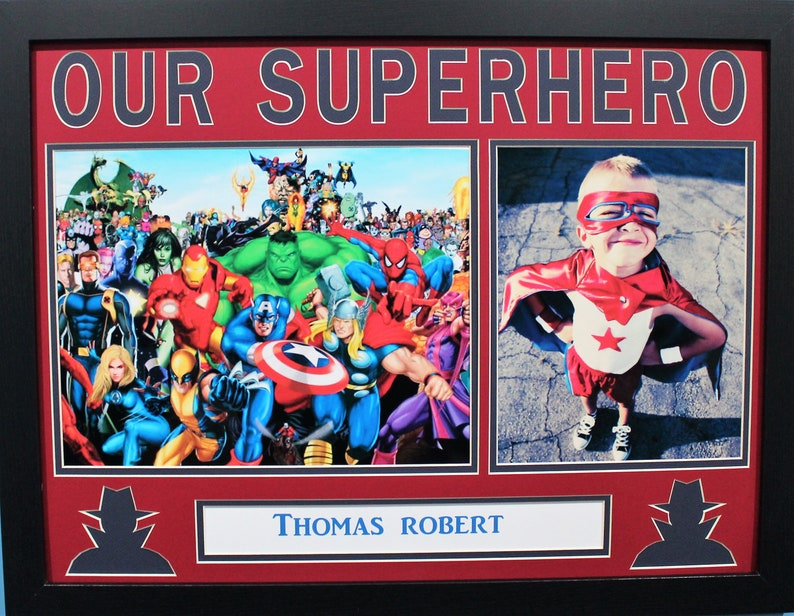 OUR SUPERHERO photo collage 18 x 24 Frame Birth announcement gift 11 x 14 artwork Child/'s Birthday gift 8 x 10 photo Personalized