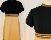 Black and Tan Polyester Mod Dress with Embroidered Trim Detail