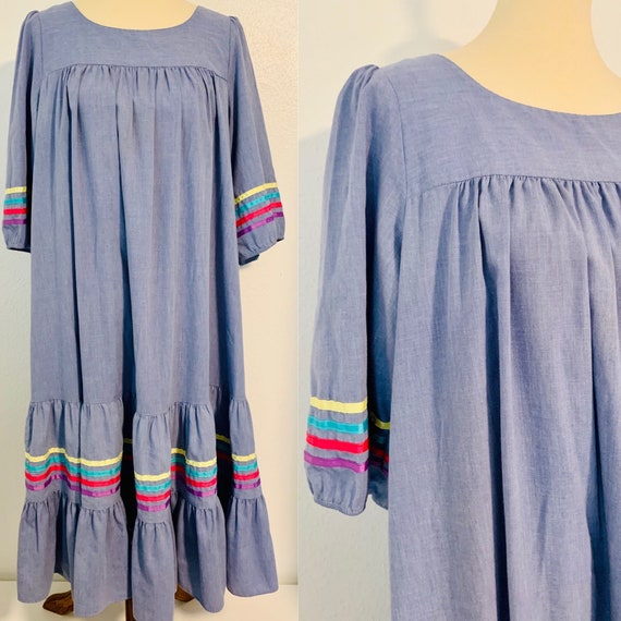 Vintage California Dynasty Ruffle Dress with Strip