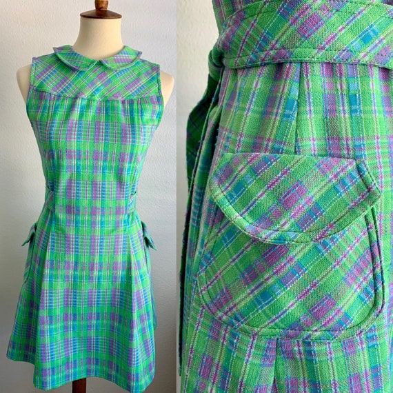 Plaid Peter Pan Collar Mod Dress by Kim O'Hare