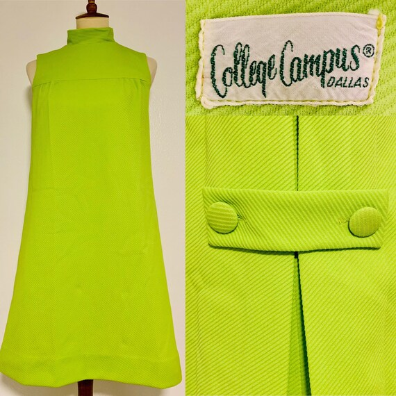 Vintage College Campus Lime Green Sleeveless Mod D