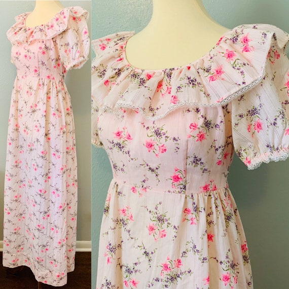 Vintage Pink Floral, Ruffle & Lace Handmade Flower