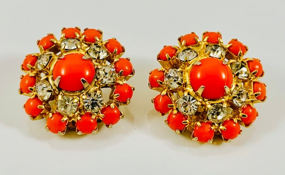 Orange and Clear Sparkle Circle Clip On Earrings