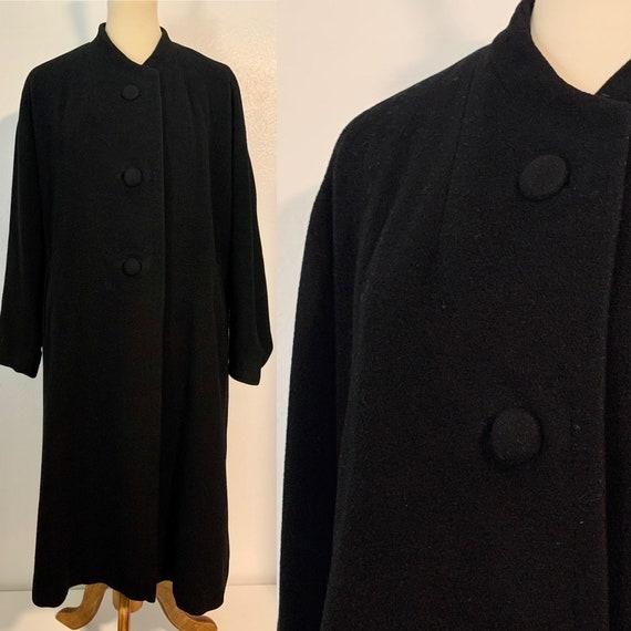 Vintage Black Cashmere Einiger Swing Coat