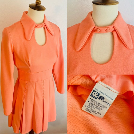 1960s Coral Fortrel Polyester Choker Keyhole Peter