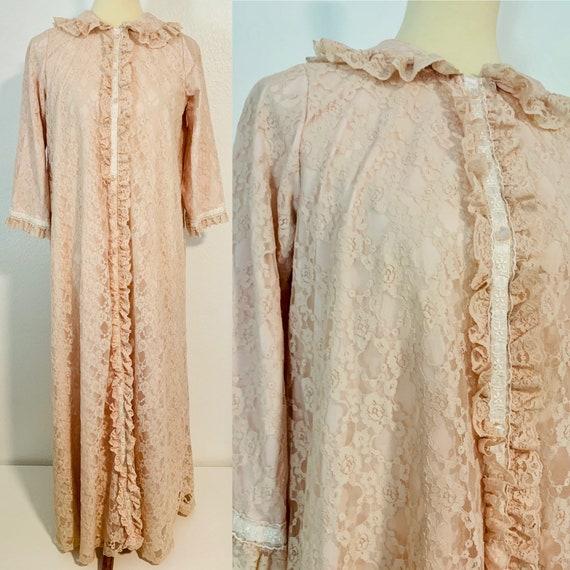 Vintage 60s Miss Elaine Lace Pale Pink House Coat