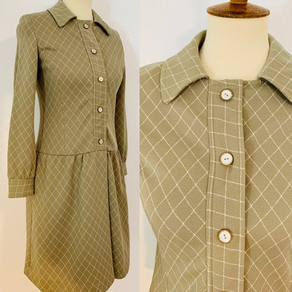 Vintage Youth Guild Tan and White Plaid Mod Dress