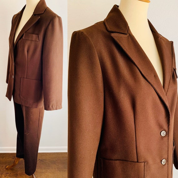Vintage Alex Coleman Brown Polyester Pant Suit - L