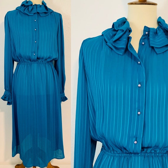 Vintage Blue Sakowitz Ruffle Striped Dress