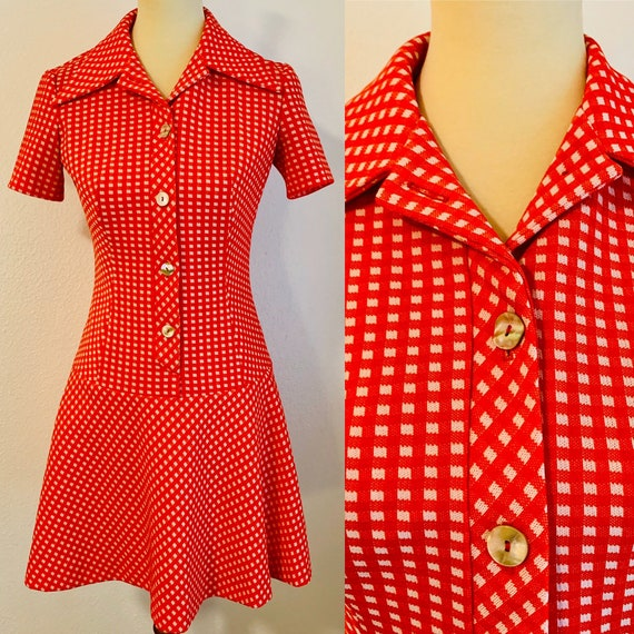 Vintage Red and White Gingham Gogo Mod Dress - Sma
