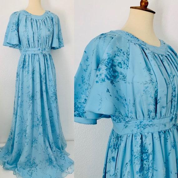 Vintage Blue Floral Chiffon Floor Length Gown Dres
