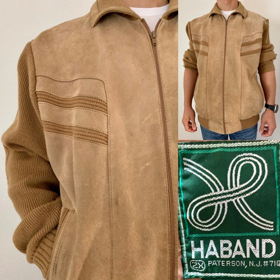 Vintage 80s Haband Brown Suede Sweater Jacket 2X