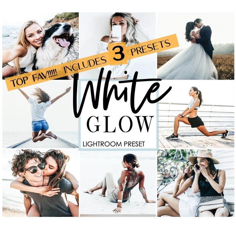 3 WHITE GLOW lightroom mobile preset - glow preset pack - design white  preset - light room mobile preset - lightroom filter - instagram feed