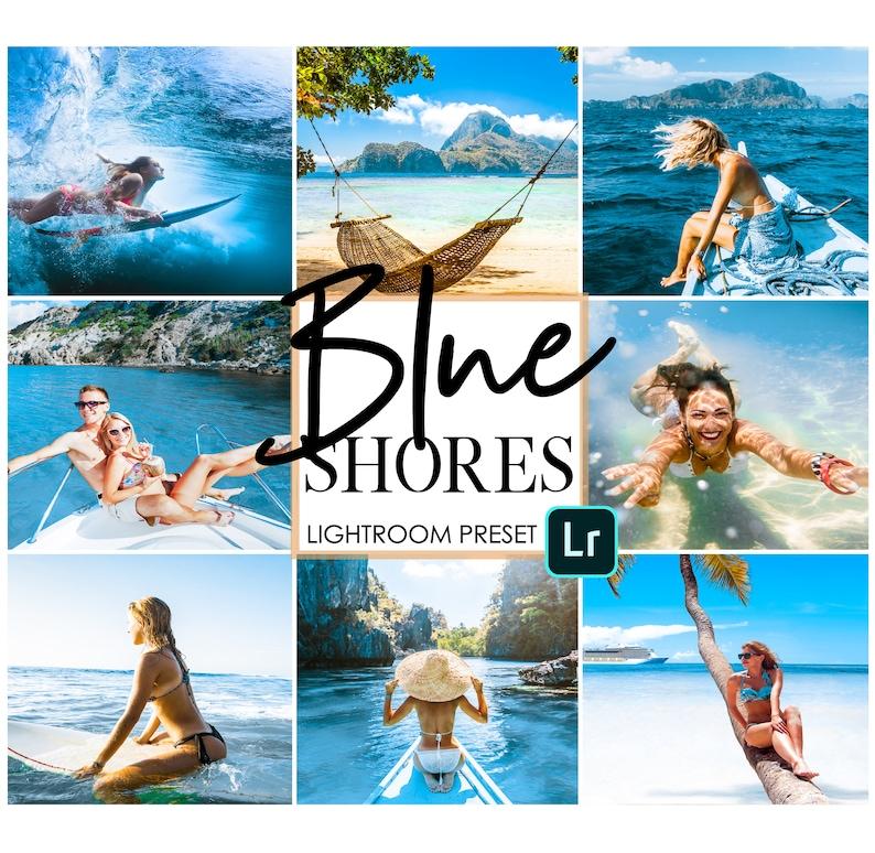 3 BLUE SHORES preset pack - Blue water lightroom mobile preset pack -  mobile lightroom app presets - ocean presets - water presets - travel