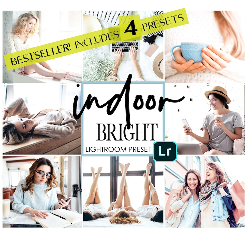 4 Digital Mobile Lightroom Presets / Indoor Bright and Light Filters for  your Instagram Story Photos / VSCO like white filters for bloggers