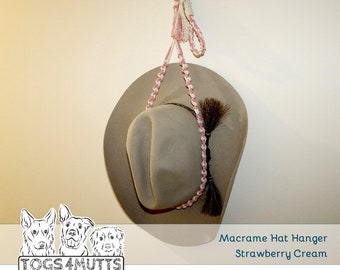 Hat Hanger Macramé handmade for Akubra, Sun Hat, Cowboy Cowgirl hat | Display & Storage  | Cotton |Adjustable in 3 lengths | Togs 4 Mutts