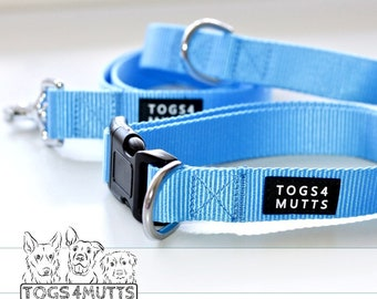 Dog Collar & Leash Set | Size M or L | Bright Blue Nylon Webbing | Personalised Dog Training | Adjustable | handmade by Togs 4 Mutts