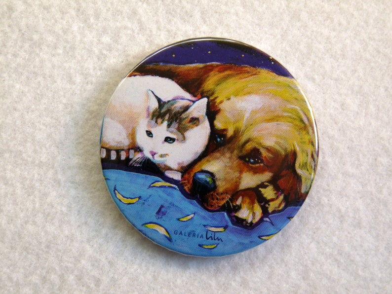 golden retriever 56mm german shepherd 2,2 labrador refrigerator magnets or pins puppies with kittens setter Cats and Dogs