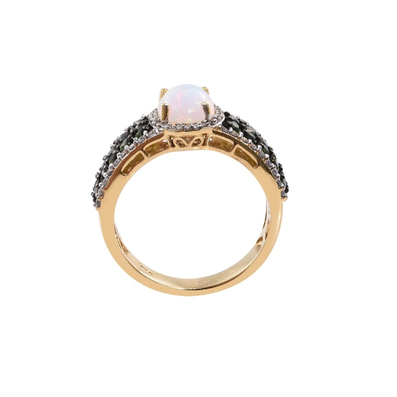 Dainty Natural Opal Ring,18K Gold Overlay Ring,Oval Fire Opal CZ Diamond Halo Engagement Ring,Handmade Ring,Birthday Ring,Bridal Jewellery