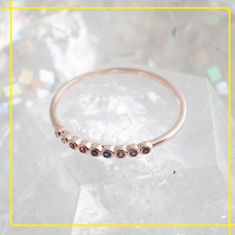 Rainbow Stone Ring,Nine Stone Ring,Birthstone Ring,Bezel Set Ring,Promise Ring,Birthday Gift Ring,Rainbow Color Stone Ring,Gift For Her Love
