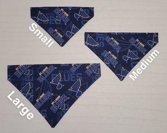 XSmallSmallMediumLargeXLarge ON SALE Tie-on Dog Bandana in St Louis Blues and Pawprints