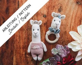 EN & DE Crochet pattern Alpaca Set, Amigurumi, Crochet, Pattern, Baby, Boy, Girl, Rattle