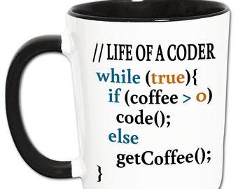 Programmer Mug, Nerd Gift, Drink Coffee Programming Source Code, Coffee Addict, Coffee Drinker, ITler, Coder, Geek Coffee Cup