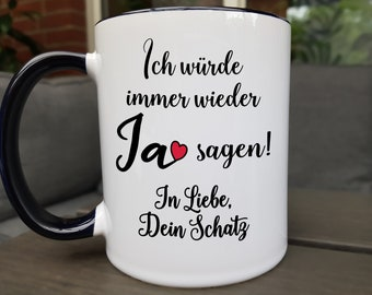 Love marriage saying cup customizable, partner gift, wedding day gift, birthday gift man woman, romantic gifts