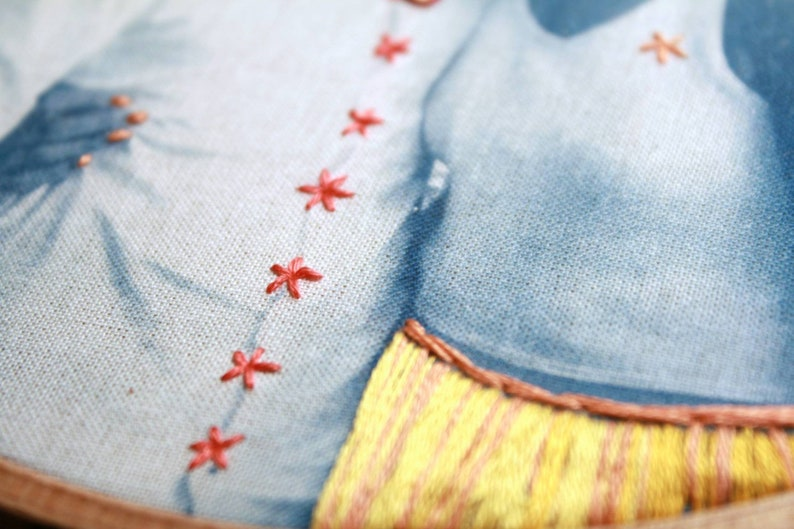 print on fabric and hand embroidered details Personalised embroidered photo