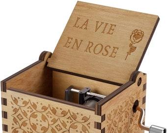 "Play /""La Vie En Rose/"" Wooden Heart Shape Music Box With Sankyo Musical Movement"