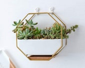 FAST SHIP Wall Mounted Gold Metal Hanging Ceramic Planter With Bamboo Wood Tray Stand Tabletop Container Vase Holder Home Decor Modern