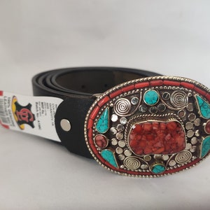 Belt buckles for men western Tibetan Silver Belt Buckle Leather belt Turquoise Coral Stone waist trap for leather belt  B15 Free Shipping