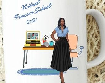 JW Virtual Pioneer School Mug #6,  JW Pioneer Gift, JW Pioneer School 2021, Zoom Pioneer School, Pioneer Sister, Pioneer Gift, Black Pioneer