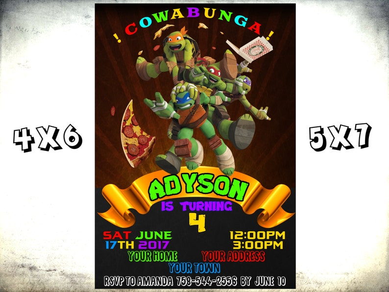 Teenage Mutant Ninja Turtle Invitations Invite Turtles Party TMNT Invitation Birthday Card