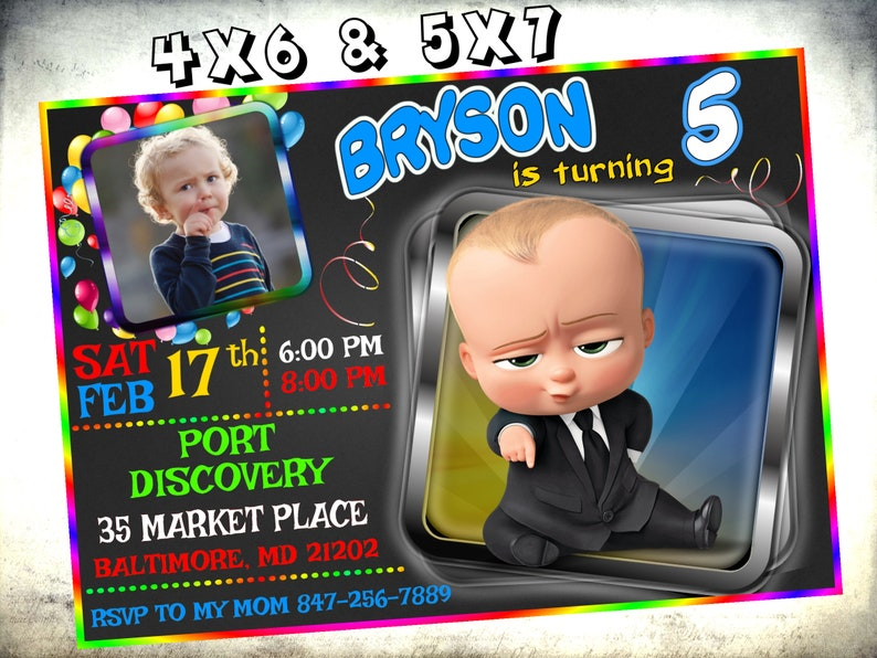 Boss Baby Birthday Invitation Party Invite