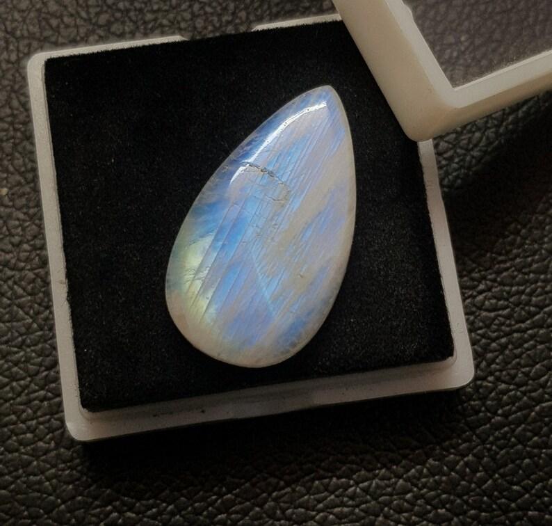 Size 33x20x7 MM RAINBOW MOONSTONE 41 Ct Natural Rainbow Moonstone Blue Fire Pear Shape Natural Rainbow High Quality Gemstone,