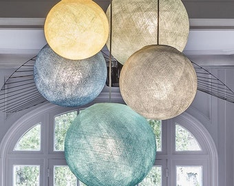 Fair Trade & Hand Made Pendant Light EZ Shade, a clip on Ceiling Light Shade, Fair Trade Certified in Pink, Teal, White
