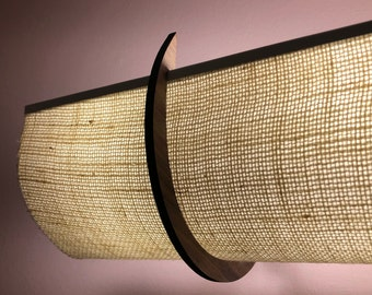 """25"""" Jute shade with Walnut or Maple Brackets Hides Hollywood Lights, for 3 or 4 bulb bath light fixture"""