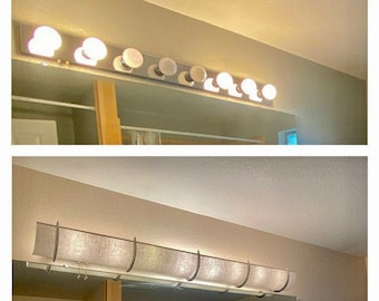 """50"""" - Wood Brackets - TWO - 25"""" Linen Shades Cover an 8 Bulb Light with 4 brackets"""