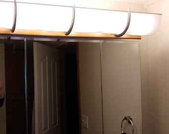 """TWO - 30"""" Smooth Bright White Shades = 60"""" - for 10 Bulb Light, shipped with Metallic Finish Brackets"""