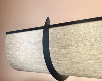 """25""""  Gray Angela Designer Fabric Shade with 2 Silver Brackets -  Covers a 4 bulb Hollywood Light"""