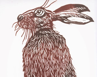 Handsome Mr. Hare is an original limited edition linocut print